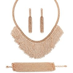 BERRICLE Rose Gold-Tone Fashion Bracelet Earrings and Necklace Set ($94) ❤ liked on Polyvore featuring jewelry, bracelets, earrings and necklace set, sets, women's accessories, brass jewelry, set jewelry, rose gold tone jewelry, chains jewelry and layered necklace sets