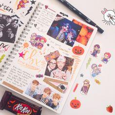 instagram: singforbyun :: a halloween spread and exo cbx anniversary spread for my kpop journal ♡ #journal #exo #kpop