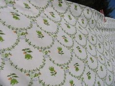 Vintage Sheet Double Flat or Top Sheet Green by AuntSistersPicks, $10.00