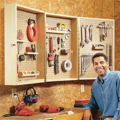 Garage tool storage is really great complement that should be included in your garage. Choose your right selection of garage tool storage that fit your need and Tool Storage Cabinets, Garage Tool Storage, Workshop Storage, Workshop Organization, Garage Tools, Diy Garage, Garage Workshop, Diy Cabinets, Garage Organization