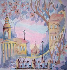 Елена Моф. Город в цветах. Handmade. Шелковый платок, рисунок