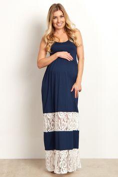 a1c92fa56c4 Navy Blue Lace Colorblock Maternity Maxi Dress Navy Blue Maternity Dress