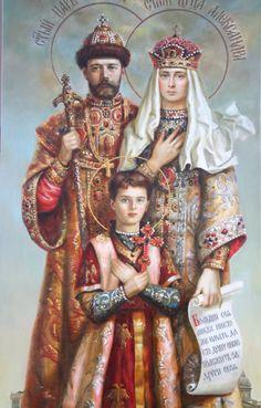 "Tsar Nicholas II (Nikolay Alexandrovich Romanov) (1868-1918) Russia with wife  Tsarina Empress Alexandra Feodorovna ""Alix"" (Victoria Alix Helena Louise Beatrice) (1872-1918) Hesse & 5th child & only son Tsarevich Alexei Nikolaevich Romanov (1904-1918), Icon."