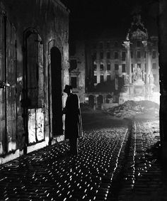 Carol Reed's 1949 film noir classic The Third Man.  Graham Greene later adapted his screenplay into a novel of the same name.  Brilliantly strange cinematography makes this a must see--plus, you gotta love that zither!