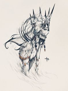 "pearlpencil: "" The Empress ""The Empress who was burned as a witch. The echo of her anguished cries are still heard. Dark Art Drawings, Pencil Art Drawings, Art Drawings Sketches, Tattoo Sketches, Tattoo Drawings, Kunst Tattoos, Body Art Tattoos, Dark Tattoo, Horror Art"
