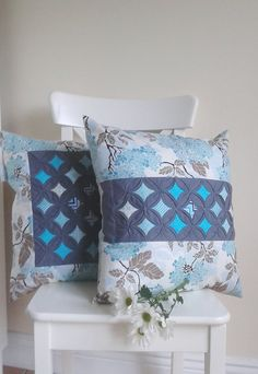"Cushion Cover Set , Cathedral Window Aqua and Charcoal 18""X18"". Pillow cover. Set of 2."