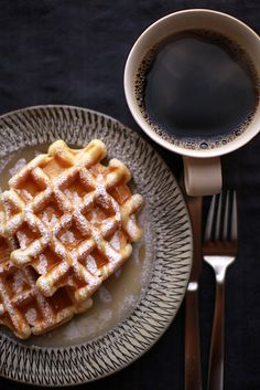 Great way to start the day, a coffee and a waffle! - UtopianCoffee.com