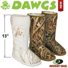 DAWGS Mossy Oak® 13 inch Australian Style Boots for Women #DAWGS #boots #cold #PolarVortex #staywarm #belowzero #camo #mossyoak