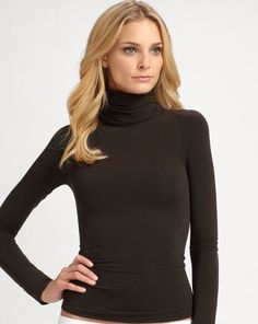 22de60417dc06 Spanx Classic Turtleneck Large Bittersweet Brown 973 on Top And In Control  Large