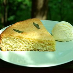 A rustic cake made with sage leaves from my garden, plus homemade vanilla ice cream.