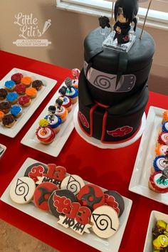 14th Birthday Cakes, Birthday Party Tables, Birthday Cookies, Bolo Do Naruto, Naruto Party Ideas, Naruto Birthday, Anime Cake, Custom Cookies, Itachi