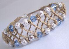 Natural Hemp Bracelet/Anklet with Light Blue Swarovski CrystalsYou can find Hemp bracelets and more on our website.Natural Hemp Bracelet/Anklet with Light Blue Swarovski Cry. Hemp Jewelry, Macrame Bracelets, Ankle Bracelets, Beaded Jewelry, Hemp Necklace, Anklet Jewelry, Shell Necklaces, Bracelet Crafts, Jewelry Crafts