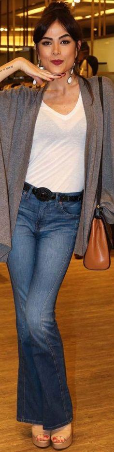 Maria Casadevall jeans white shirt black bra grey cardigan