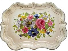 Vintage Chippendale Rose Bouquet Toleware Tray     Exquisitely painted by an accomplished artist and signed, this Tole Tray is stunning! Chippendale shape, with a lovely stand up scalloped edge accented in hand painted gilded flourishes, this tray is one of the prettiest we have found, with a huge center bouquet.