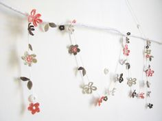 crochet flower garland... Pearl - coral pink, cocoa, taupe and pale grey blossom.
