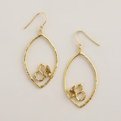 "Sterling Silver Gold Lotus Teardrop Earrings at WorldMarket.com. Sweet earrings with 1"" width and 2"" drop."