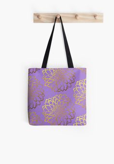 Dahlia on violet and gold pattern design Tote Bags