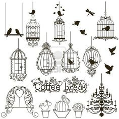 Vintage birds and birdcages collection. Save the Dates