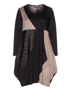 Balloon dress with geometric pattern in Black / Taupe-Grey designed by Doris Streich to find in Category Dresses at navabi.de