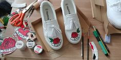shoes painting rose