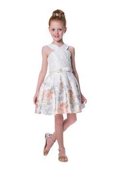 Vestido de Festa Infantil Flores Douradas Petit Cherie Kids
