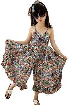 Little Girl's Summer Cute Floral Sleeveless Straps Jumpsuit Beach Boho Dress: Clothing African Dresses For Kids, Toddler Girl Dresses, Little Girl Dresses, Little Girl Fashion, Girls Dresses, Girls Frock Design, Baby Dress Design, Baby Frocks Designs, Kids Frocks Design