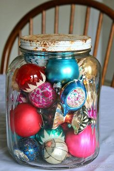 vintage ornaments Old jar, but could put many other things inside of it!