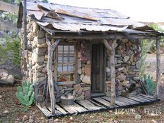 "Gold mining assayer's shack dollhouse (1"" scale) Made by Lizard Flats old west western rustic Arizona"