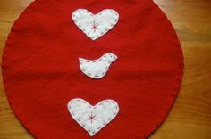 Wool Trivet  Bird and Hearts by LittleWool on Etsy