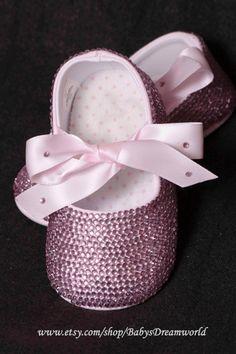baby Swarovski Rhinestones shoes, 0-12 month. $95.00, via Etsy.