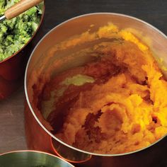 The vegetable mash is rich in vitamin A and potassium, thanks to butternut squash.