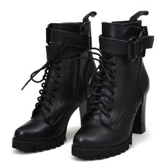 Womens Genuine Leather Lace Up Motorcycle Ankle Boots. The coolest from Aliexpress.