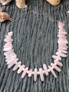 Hidden Cave Treasures Rose Quartz bar with white CFW Pearl collar necklace - 925 sterling silver - handmade Handmade Silver, Handcrafted Jewelry, Gemstone Jewelry, Sterling Silver Jewelry, June Birth Stone, Collar Necklace, Rose Quartz, Birthstones, Cave