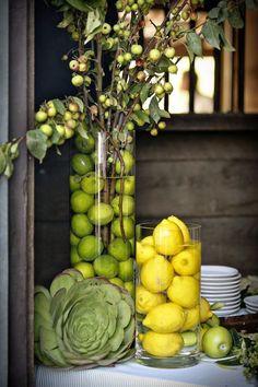 Lemon & Lime centerpieces: using fruits instead of florals Garden Party Decorations, Decoration Table, Italian Decorations, Spring Decorations, Fall Decor, Wedding Decorations, Garden Parties, Stage Decorations, Deco Fruit