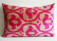 Sukan / SALE, Decorative Pillow,Throw Pillow Cover, Handmade Silk Velvet Ikat Pillow Cover, 16x24 inch, Beige, Pink Color. $69.95, via Etsy.