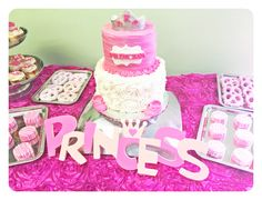 Princess theme Baby shower  www.leileiscuisine.com Princess Theme, Baby Shower Princess, Baby Shower Cakes, Baby Shower Themes, Birthday Cake, Desserts, Kitchens, Cakes Baby Showers, Tailgate Desserts