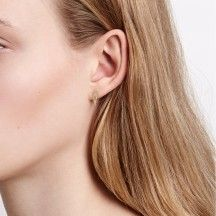 Diamond Silhouette Zirconia Ear Studs Small Gold