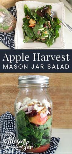 Do you need new Mason jar salad inspiration? This Apple Harvest Mason jar salad Best of Mason Jar Breakfast & Mason Jar Breakfast, Mason Jar Lunch, Mason Jar Meals, Meals In A Jar, Mason Jars, 21 Day Fix, Yogurt, Harvest Salad, Salad In A Jar