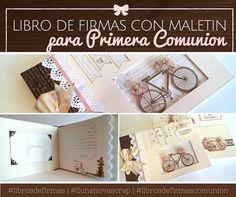 Libros de firmas comunion scrapbooking Scrapbook, Album, Website, Signature Book, Briefcases, Presents, Libros, Crates, Scrapbooking