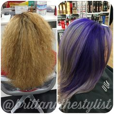 Before & After! It's been many months and services of going lighter for my client to reach her goal of lavender hair. She knew it would be a process and was ready for it! I decided to do a purple silver look for her to get her one step closer to her goal. The purple would tone her blonde as it faded making it a perfect canvas for pastel. Her base was toned with @redken5thave new line of pearls, 8P to balance out the heavy brassiness she still had. #purplehair #silverhair #pravana #before…