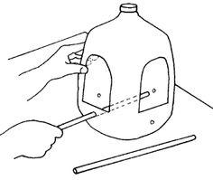 Simple recycled milk jug birdfeeder. Tiger electives 32 & 47, Wolf elective 13.