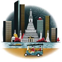 A beautiful illustration by Sam Brewster for the January 2015 issue… Thai Art, Thai Thai, City Branding, Thai Pattern, Thai Design, Retro Typography, Travel Illustration, People Art, Vintage Travel