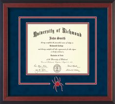 University of Richmond Diploma Frame-Cherr Reverse-3D Cut-Out-Navy/Red – Professional Framing Company