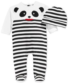 First Impressions Baby Infant Boys' Panda Coverall & Hat Set, Only at Macy's