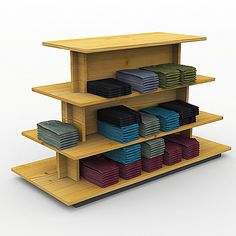 rustic wood multi level shirt display gondola shelf stacked