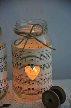 Get In The Christmas Spirit With These Magical 30 DIY Candle Holders Projects music sheet and jar Diy Candle Holders, Diy Candles, Mason Jar Candles, Pot Mason, Bulk Candles, Romantic Candles, Vintage Candle Holders, Book Holders, Romantic Ideas