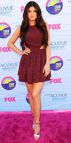 printed burgundy dress with subtle side cutouts, silver peep-toe sandals, plus gold jewelry and nails. #TCA2012