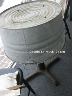 Chipping with Charm...wash tub to cafe table...why not?