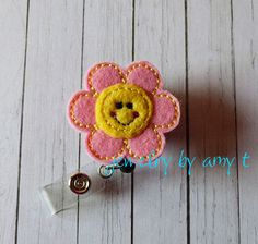 Smiling Flower Feltie Retractable Badge Reel, Felt Badge Reel, ID Badge Reel Holder, Name Badge Holder, Lanyard, Teachers Badge Holder Reel - pinned by pin4etsy.com
