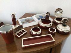 Cadinen Majolika Silberrand punziert 9-teiliges Set Schale Aschenbecher Dose